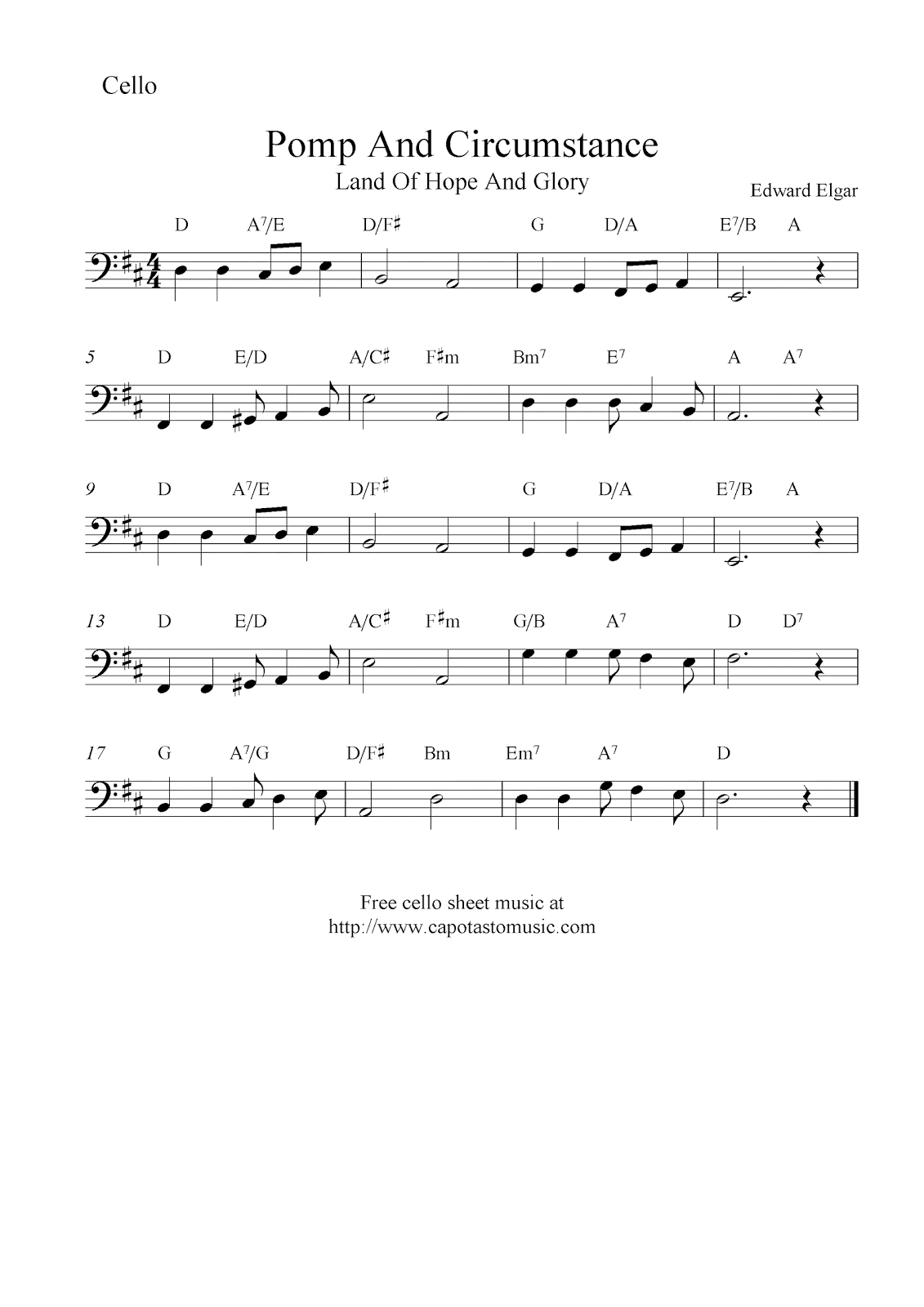 Pomp And Circumstance (Land Of Hope And Glory), Free Cello Sheet - Free Printable Sheet Music Pomp And Circumstance