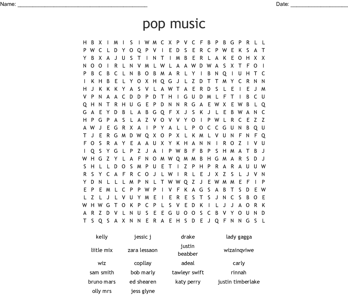 Pop Music Word Search - Wordmint - Free Printable Music Word Searches