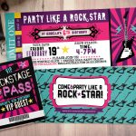 Pop Star, Rock Star Concert Ticket Birthday Party Invitation  Music   Free Printable Karaoke Party Invitations