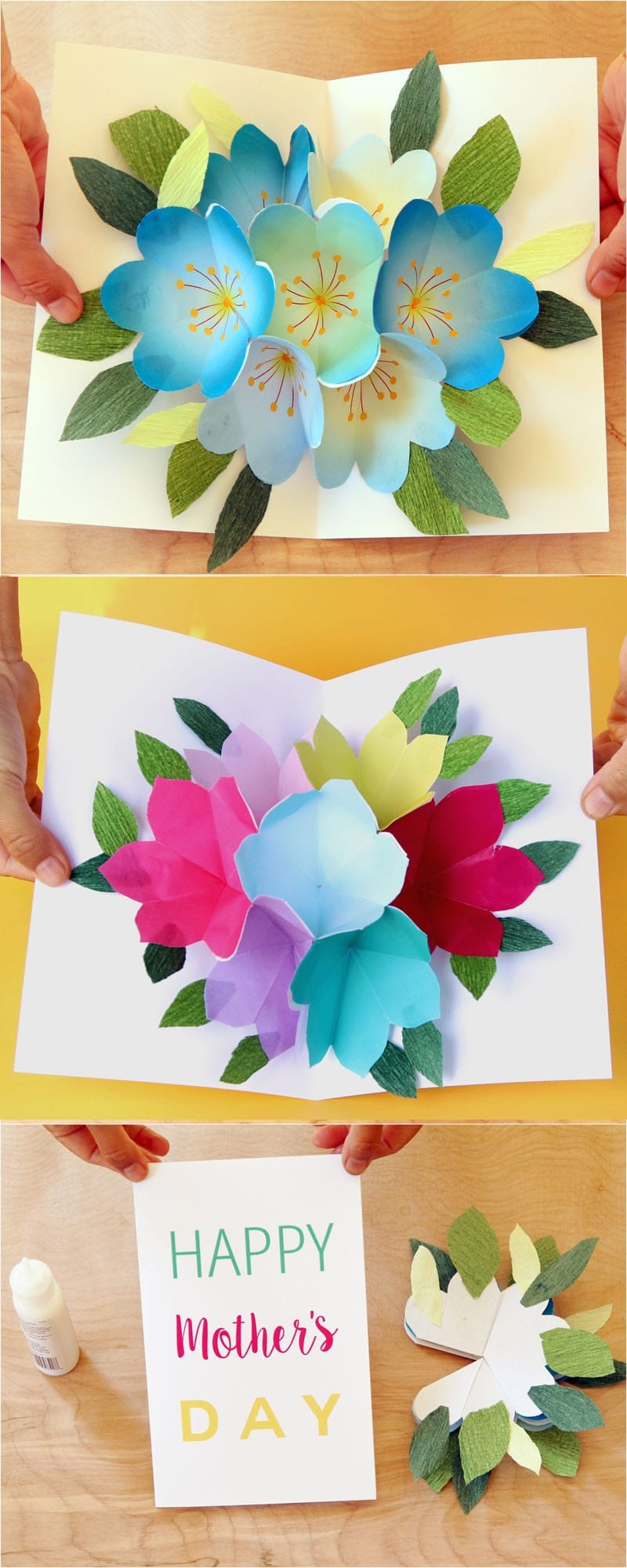 Pop Up Flowers Diy Printable Mother's Day Card - A Piece Of Rainbow - Free Printable Pop Up Birthday Card Templates