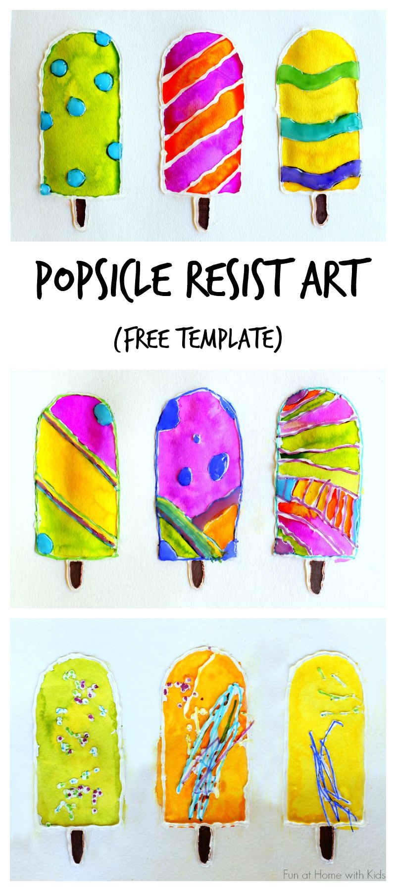 Popsicle Resist Art With Free Popsicle Template | New Teachers - Free Printable Popsicle Template