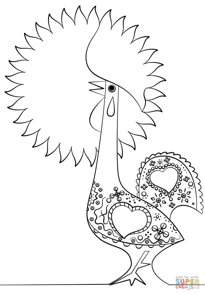 Portuguese Rooster Coloring Page   Free Printable Coloring Pages - Free Printable Pictures Of Roosters