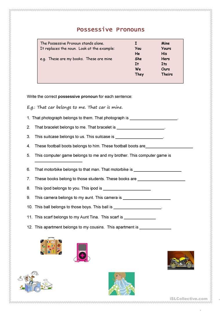 Possessive Pronouns Worksheet - Free Esl Printable Worksheets Made - Free Printable Possessive Nouns Worksheets
