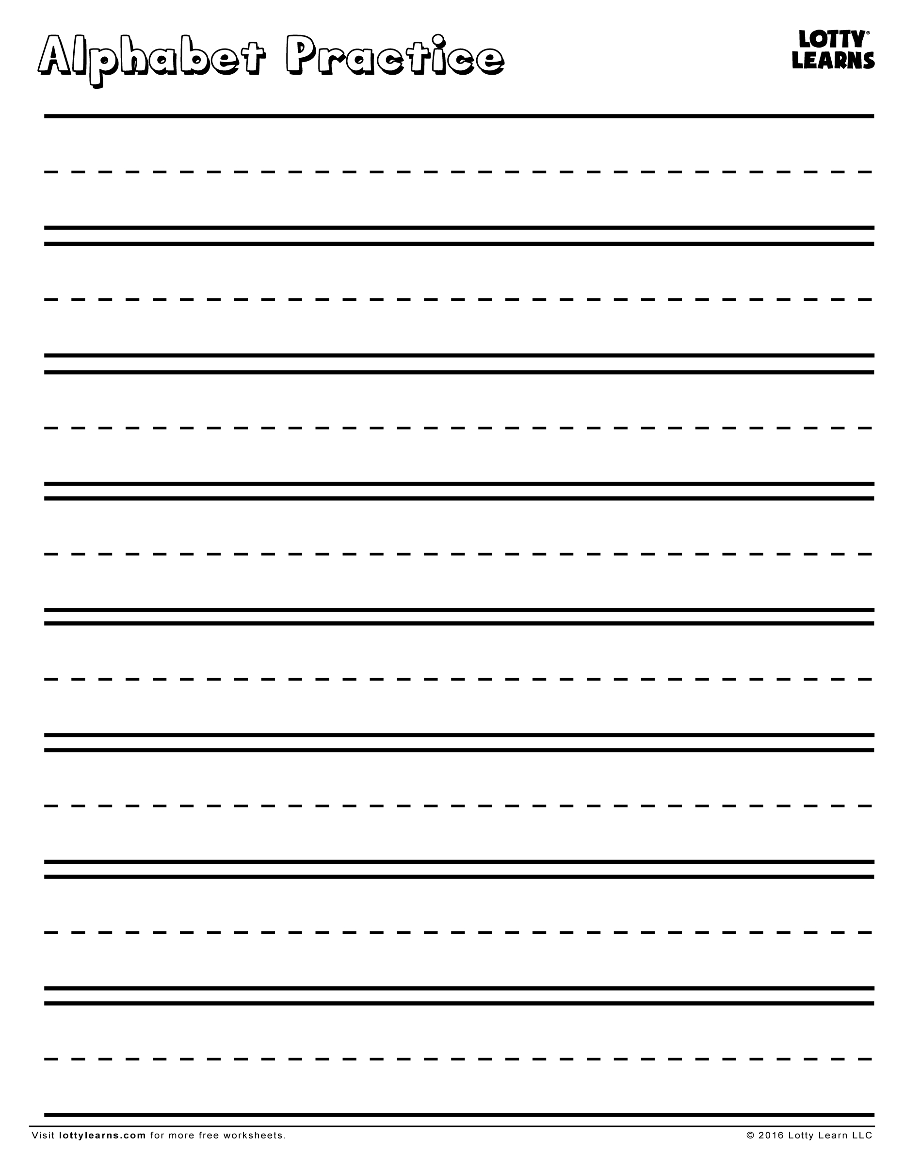 Practice Makes Perfect! Blank Alphabet Practice Sheet | Lotty Learns - Blank Handwriting Worksheets Printable Free