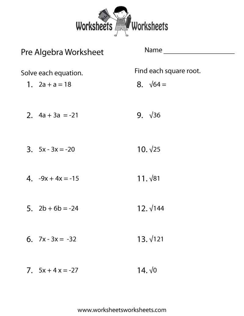 Pre-Algebra Practice Worksheet Printable | Lessons | Algebra - Free Printable 8Th Grade Algebra Worksheets