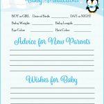Prediction & Advice Cards   Printable Download   Blue Penguin Winter   Baby Prediction And Advice Cards Free Printable