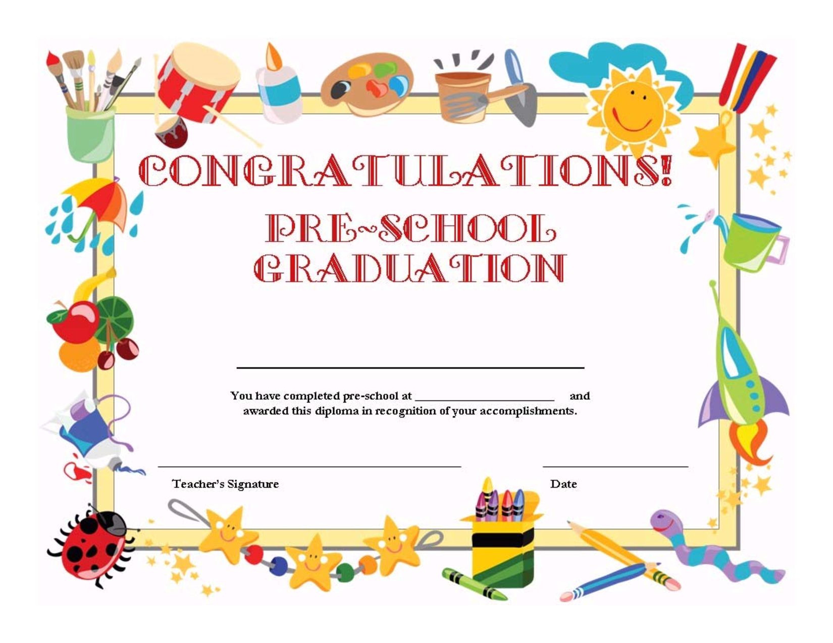 Preschool Graduation Certificate Template Free | ⇢Kindergarten - Free Printable Children's Certificates Templates