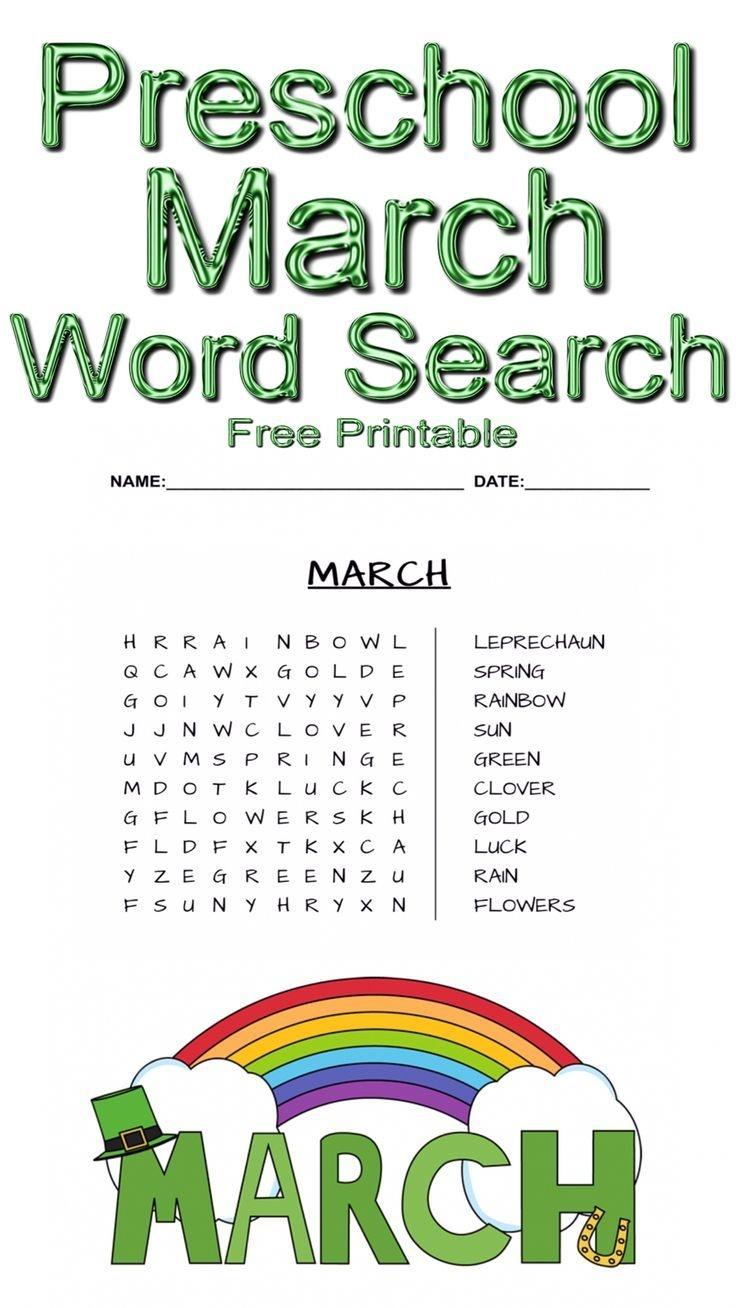 Preschool March Word Search ~ Free Printable   Free Printables - Free Printable March Activities