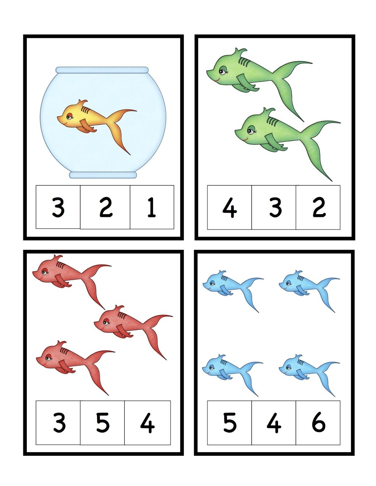 Preschool Printables: Cute Fish Number Printable (Seuss)   Sea - Free Printable Dr Seuss Math Worksheets