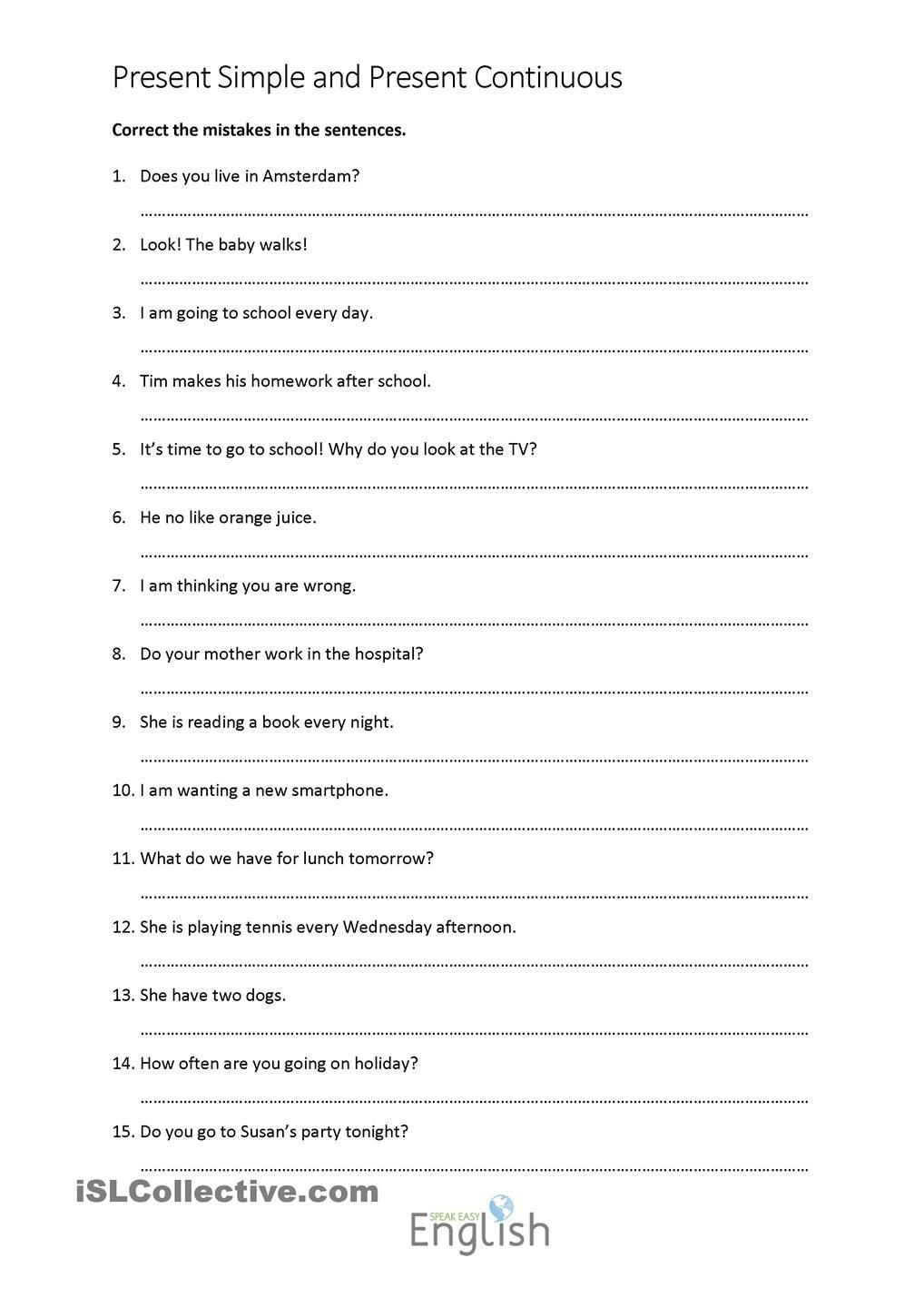 Present Simple/continuous Error Correction With Answers | Teaching - Free Printable Sentence Correction Worksheets