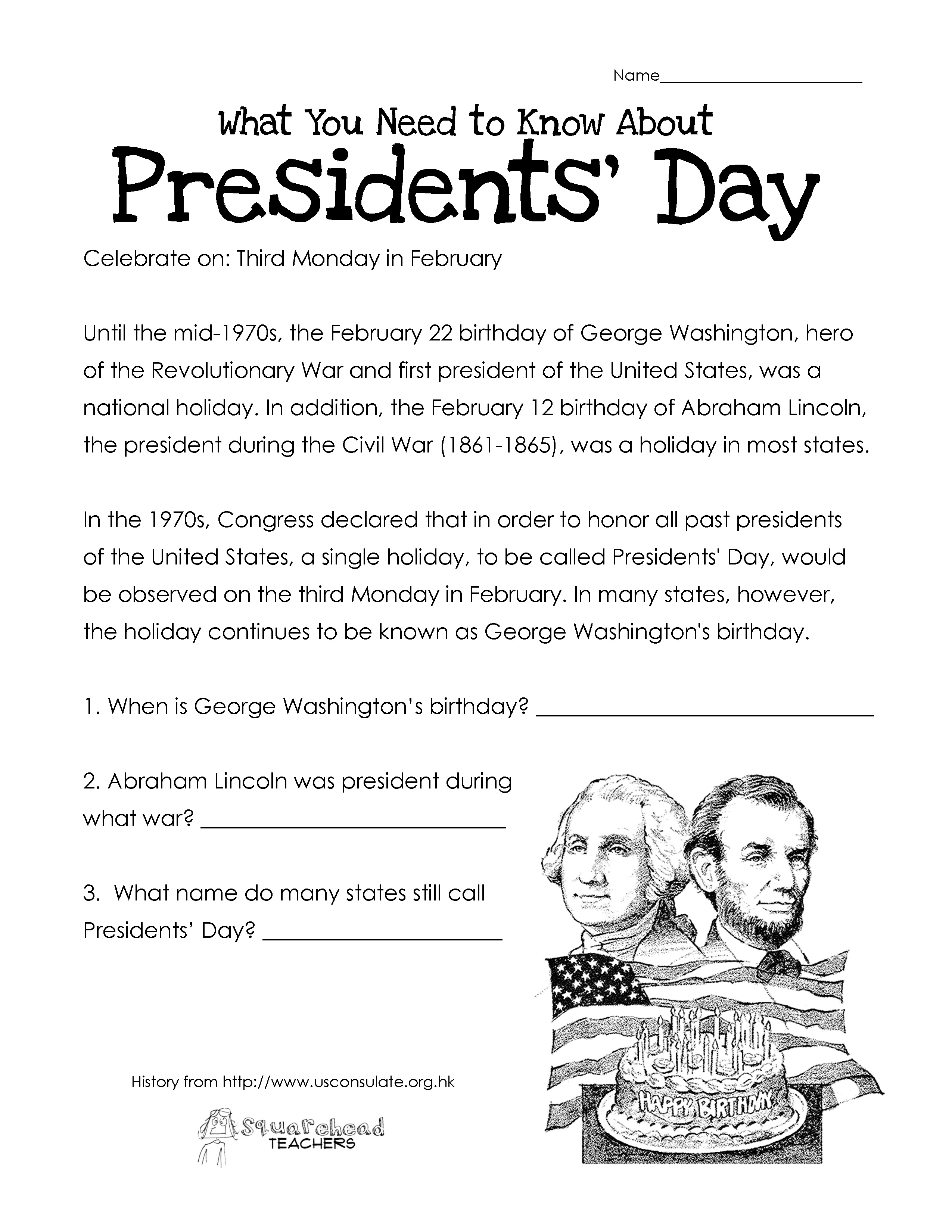 Free President's Day Writing Worksheet | Kindergarten ...