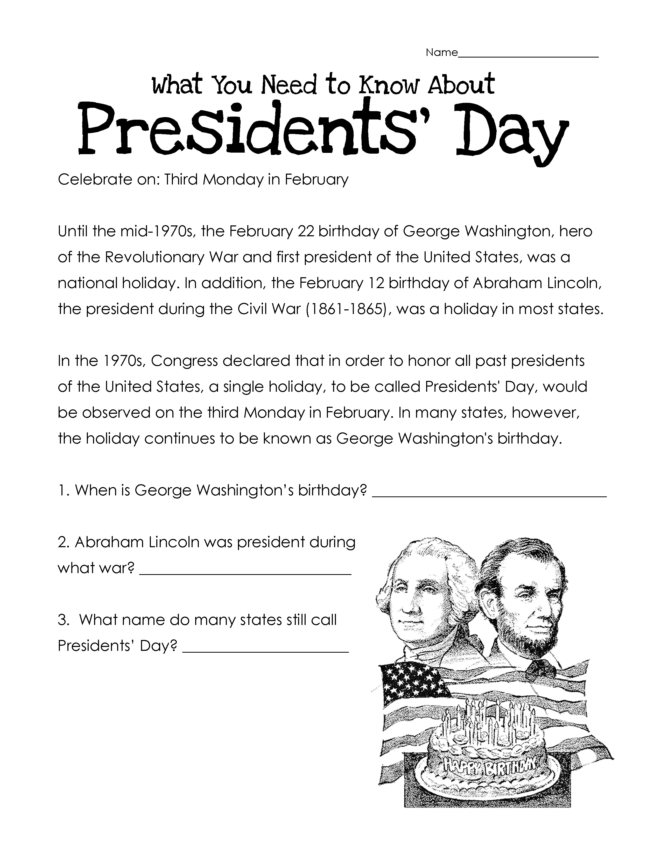 Presidents Day Worksheets - Best Coloring Pages For Kids - Free Printable Presidents Day Worksheets