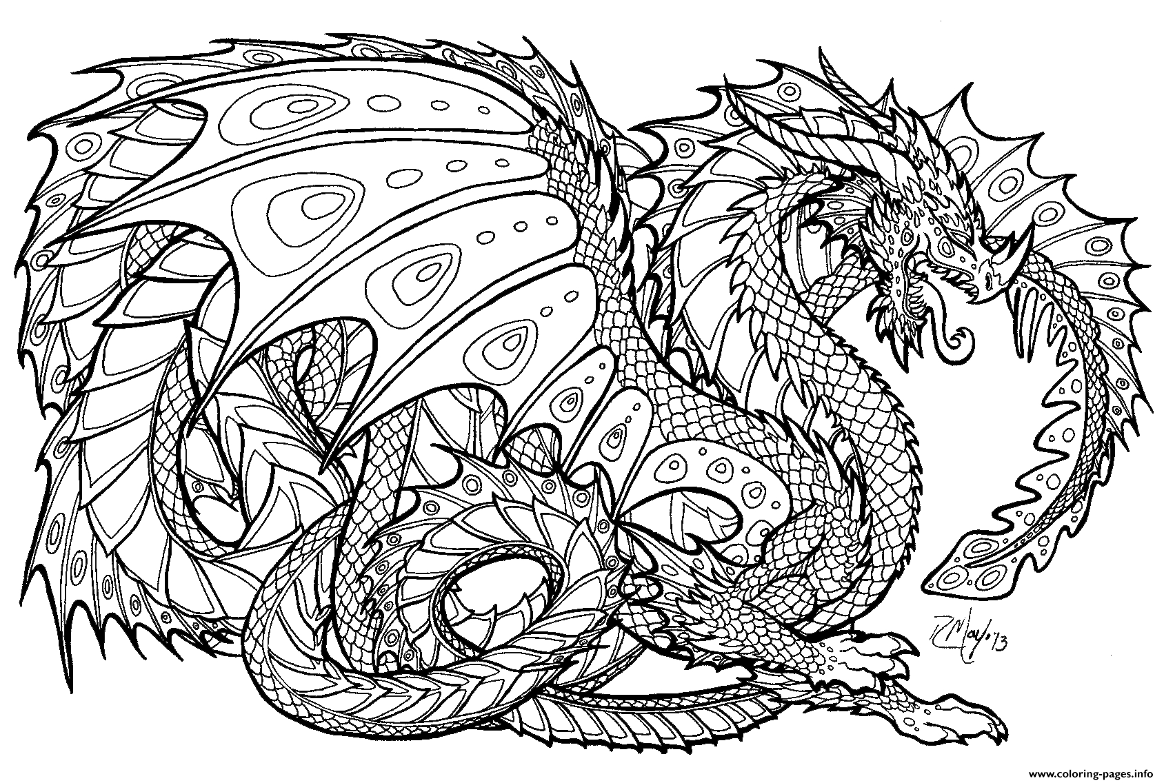 Print Realistic Dragon Chinese Dragon Coloring Pages | Adult - Free Printable Chinese Dragon Coloring Pages