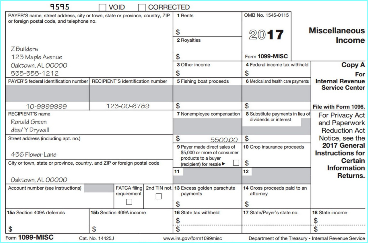 Printable 1099 Form 2017 Misc - Form : Resume Examples #djqlelg4Kw - Free Printable 1099 Form 2016