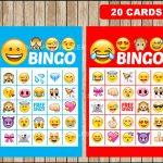 Printable 20 Emoji Bingo Cards Printable Emojis Bingo Game | Etsy   Free Emoji Bingo Printable