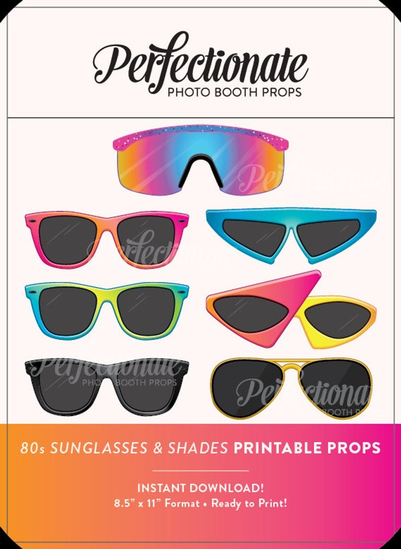 Printable 80S Sunglasses Photo Booth Prop Printable 80S   Etsy - 80S Photo Booth Props Printable Free
