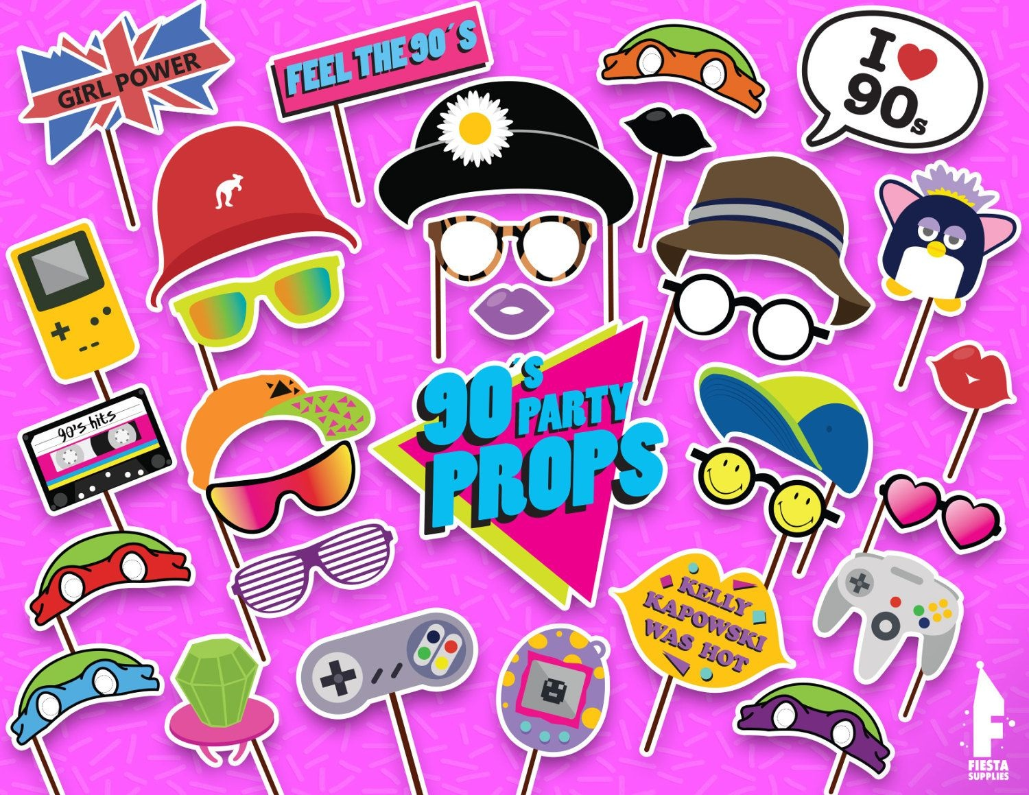Printable 90S Photo Booth Props - Printable 90S Party Props- Instant - Printable 90S Props Free