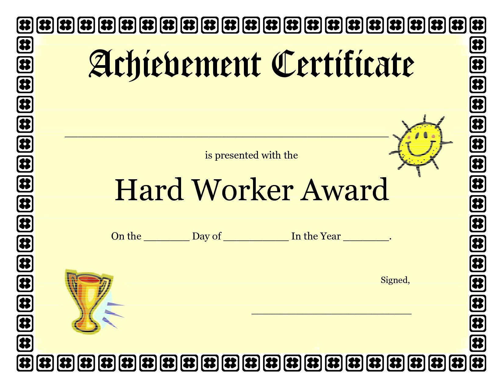 Printable Achievement Certificates Kids | Hard Worker Achievement - Free Printable Certificates For Students