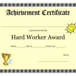 Printable Achievement Certificates Kids | Hard Worker Achievement   Free Printable Certificates Of Accomplishment
