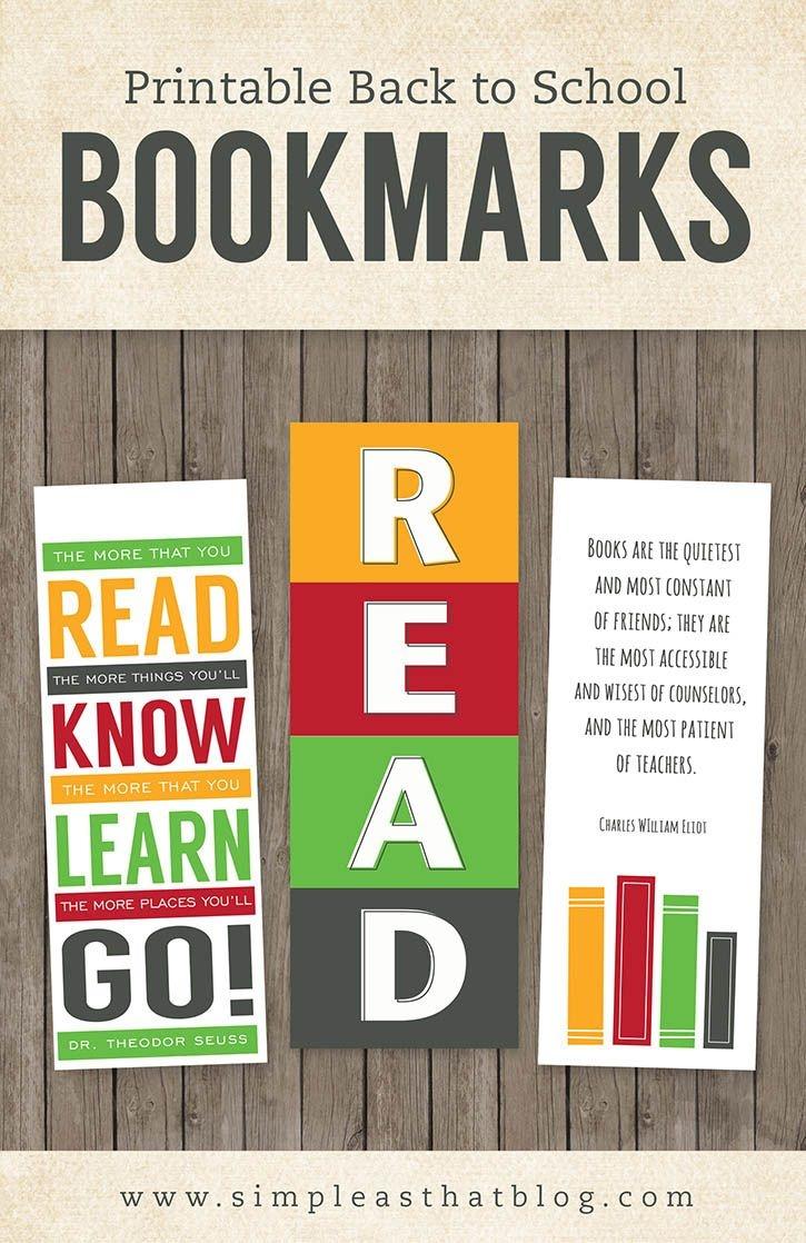 Printable Back To School Bookmarks   Teach   School, Elementary - Free Printable Back To School Bookmarks