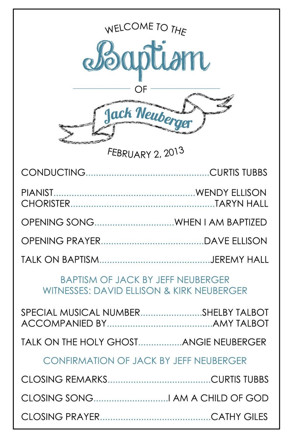 Printable Baptism Program - Lds, Girl, Boy | Baptism | Bautismo - Free Printable Sud