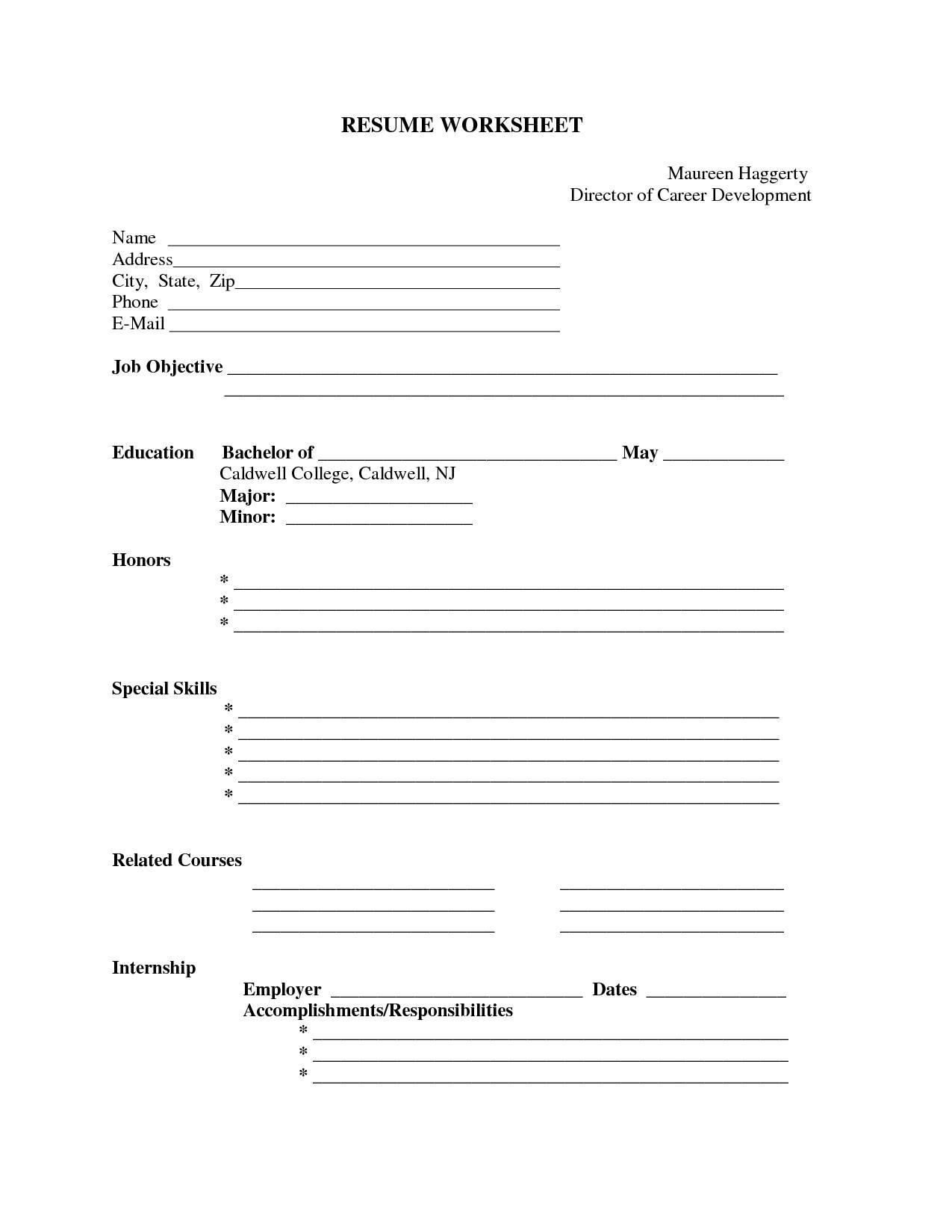 Printable Blank Resume | Bijeefopijburg.nl - Free Printable Blank Resume