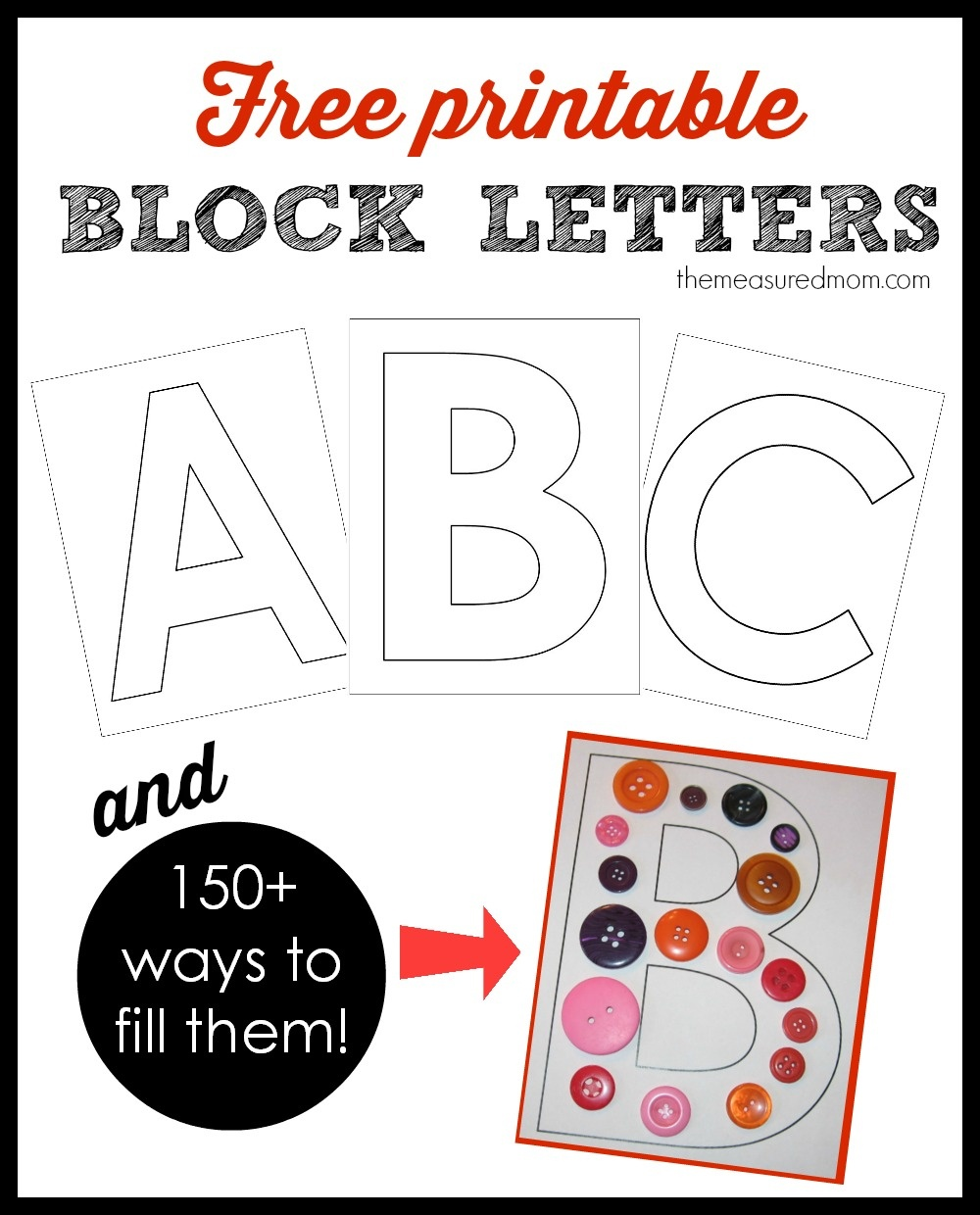 Printable Block Letters And Over 150 Ways To Fill Them! - The - Free Printable 4 Inch Block Letters