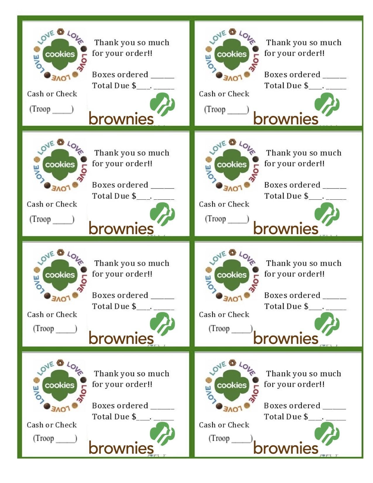 Printable Brownie Girl Scouts Cookie Sales Invoice And Thank You - Free Printable Eagle Scout Thank You Cards