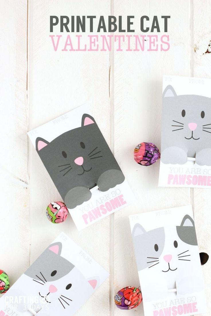Printable Cat Valentine Day Cards   Valentine's Day Ideas For Kids - Free Printable Cat Valentine Cards