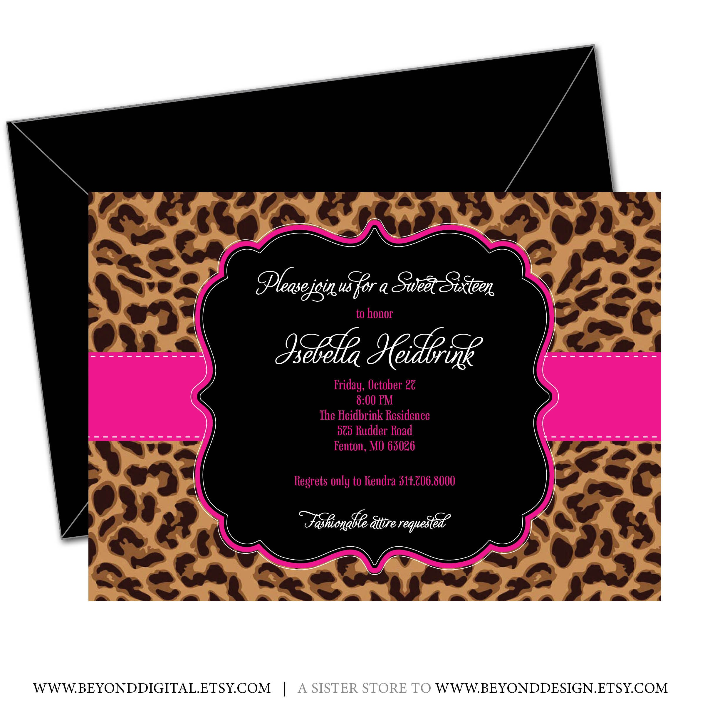 Printable Cheetah Sweet 16 Birthday Invitation Girl Birthday | Etsy - Free Printable Cheetah Birthday Invitations