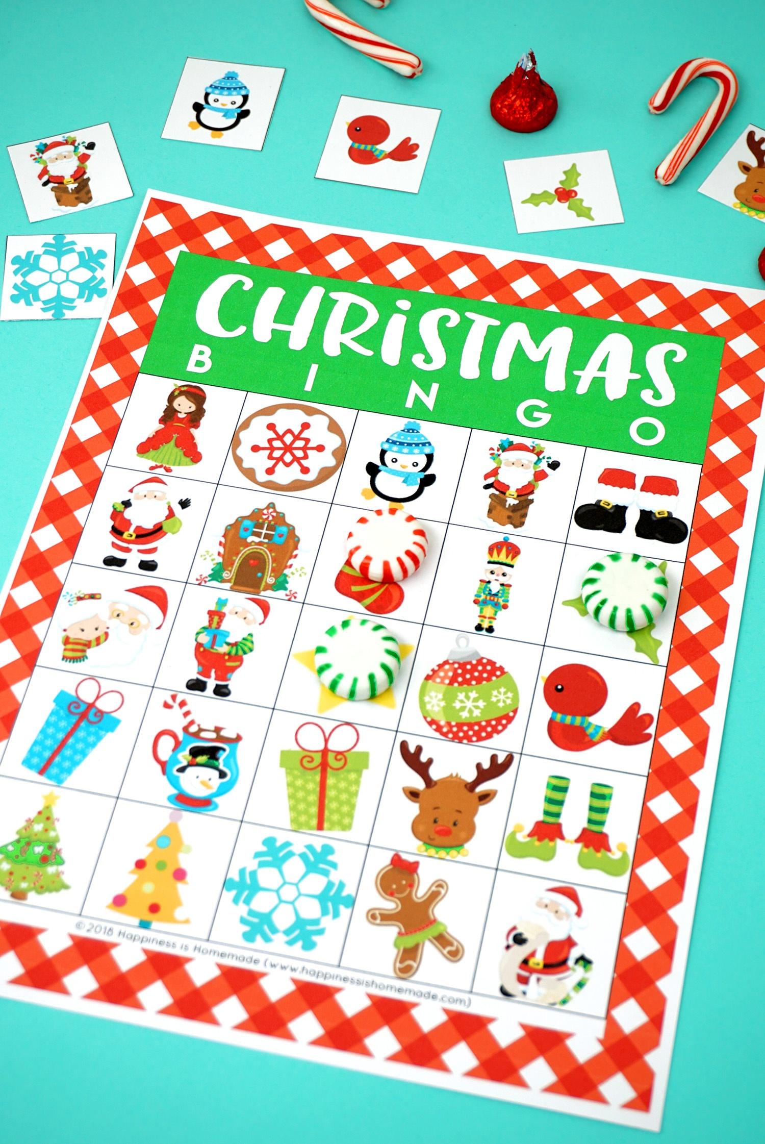 Printable Christmas Bingo Game - Happiness Is Homemade - Christmas Bingo Game Printable Free