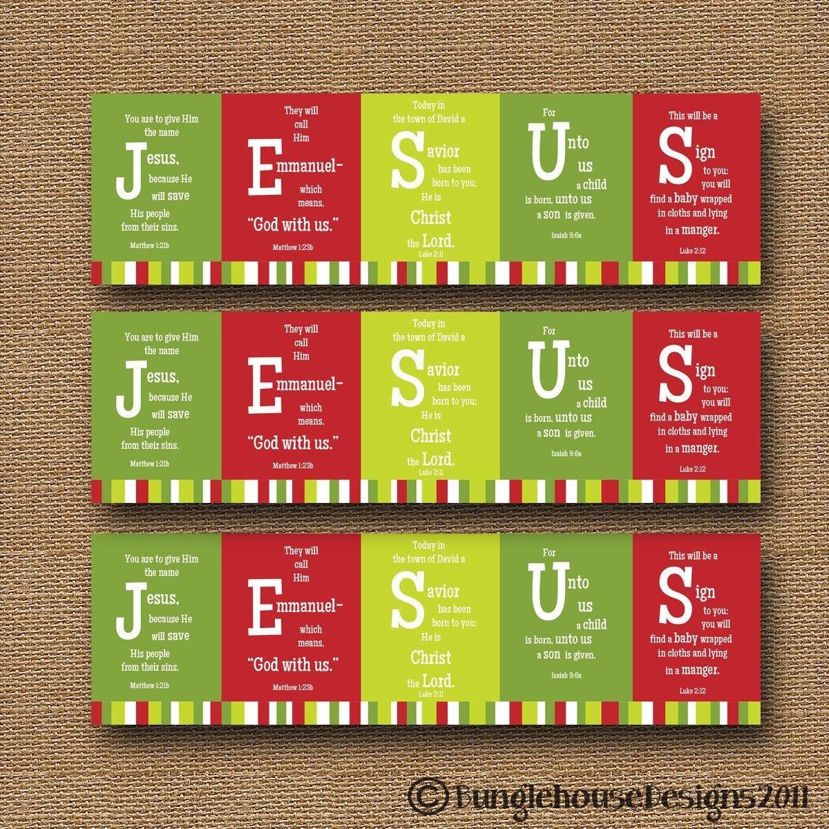 Printable Christmas Bookmark Jesus Scripture Bible Verse   Etsy - Free Printable Religious Easter Bookmarks