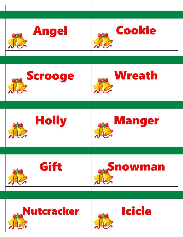 Printable Christmas Game Cards For Pictionary Or Charades, Hangman - Free Printable Christmas Pictionary Words