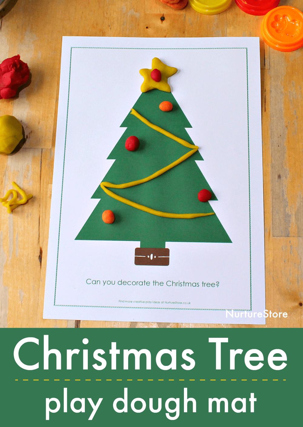 Printable Christmas Tree Play Dough Mat - Nurturestore - Free Printable Christmas Ornament Crafts