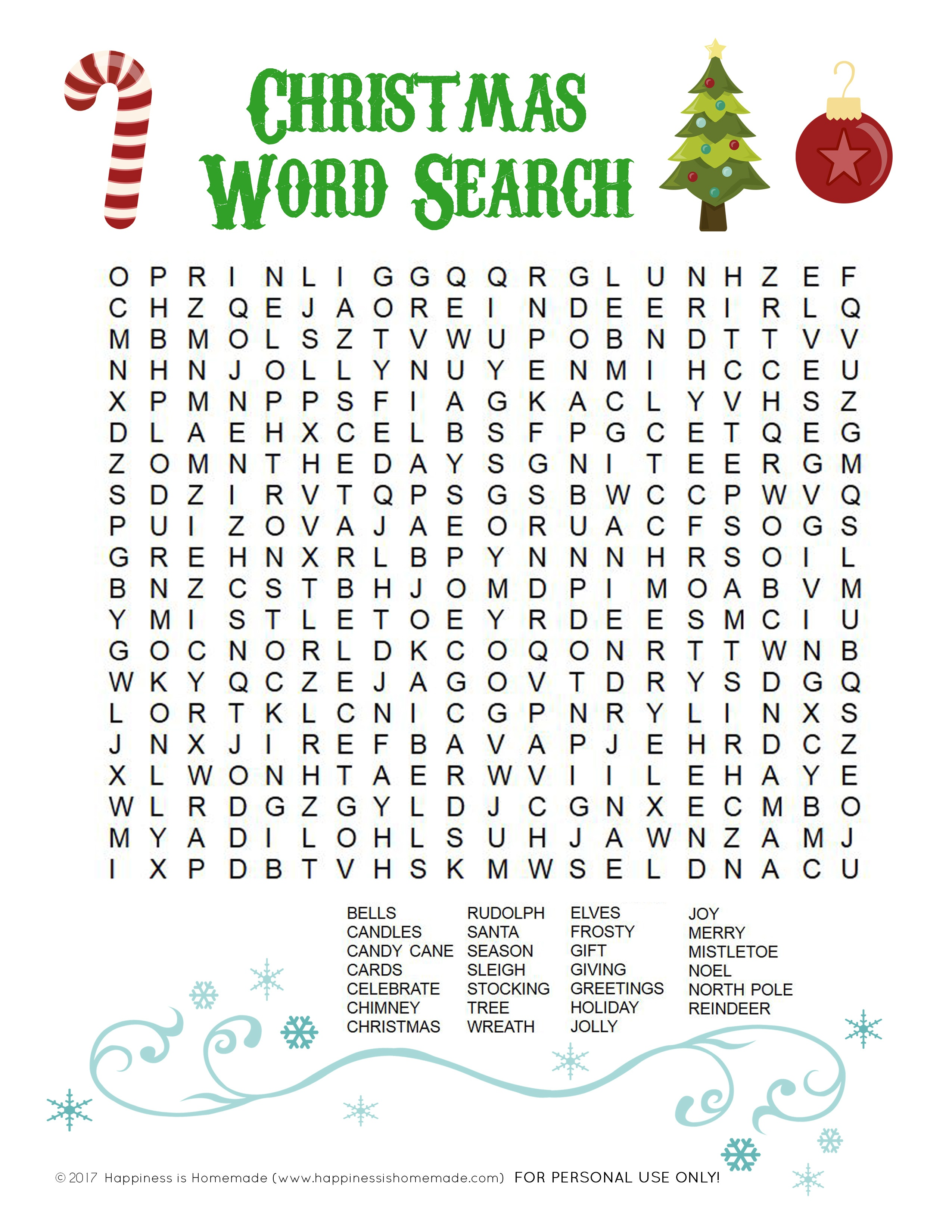Printable Christmas Word Search For Kids & Adults - Happiness Is - Free Printable Christmas Puzzles And Games