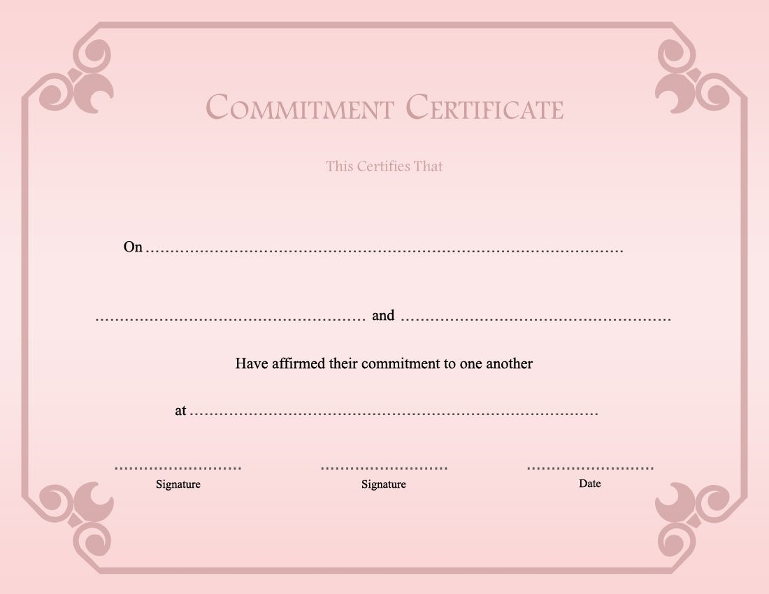 Printable Commitment Ceremony Certificate Template - Commitment Certificate Free Printable