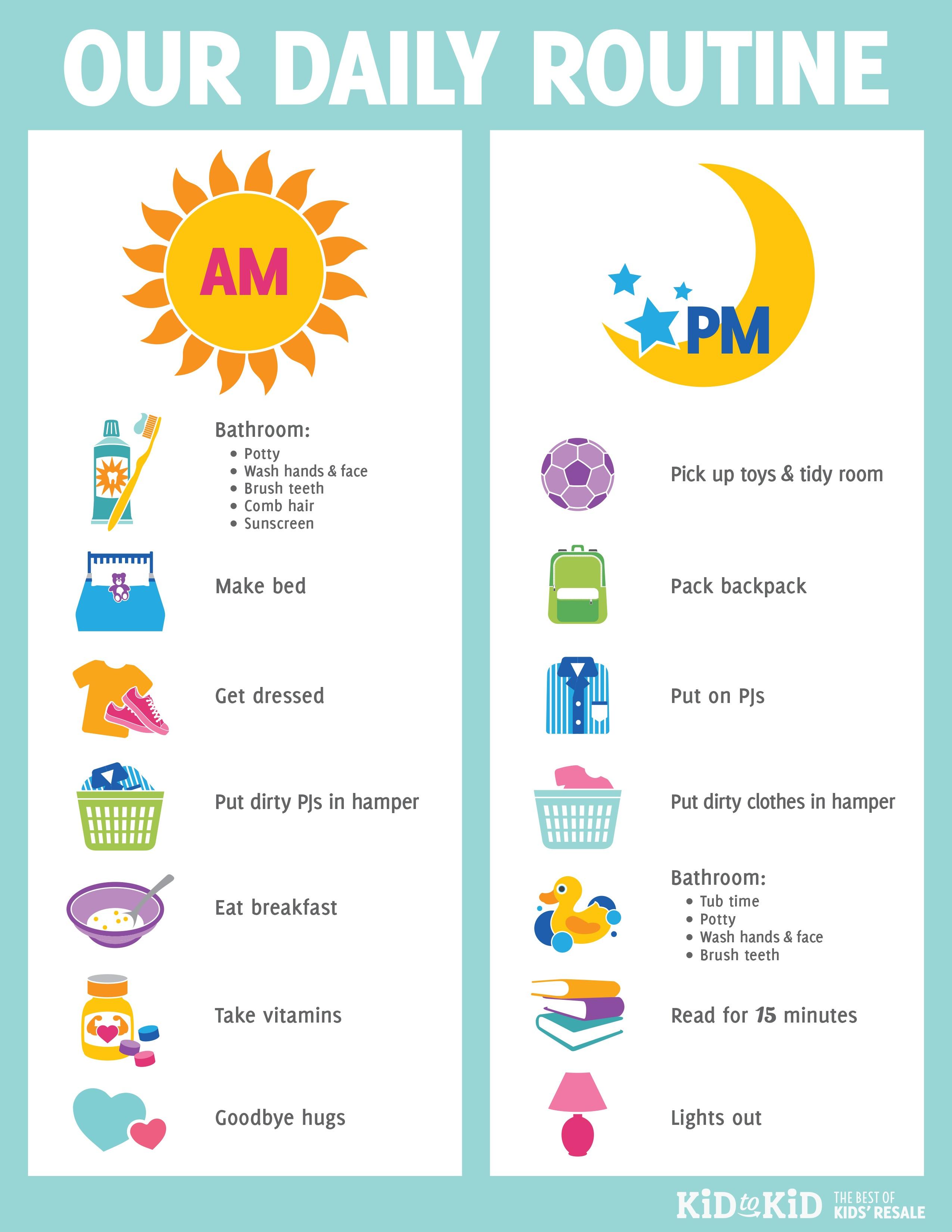 Printable Daily Routine Chart - Kid To Kid - Free Printable Morning Routine Chart