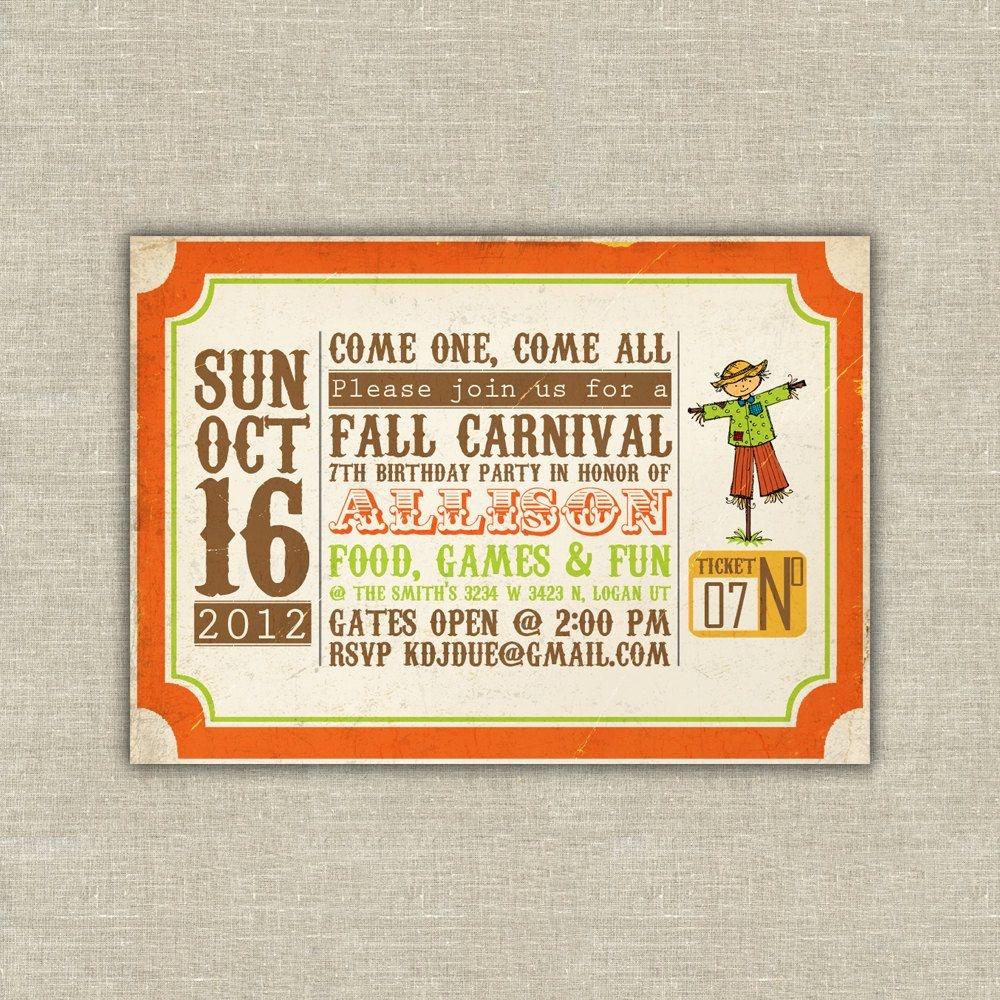 Printable Digital File Harvest Party Invitations, Scarecrow, Pumpkin - Free Printable Fall Festival Invitations