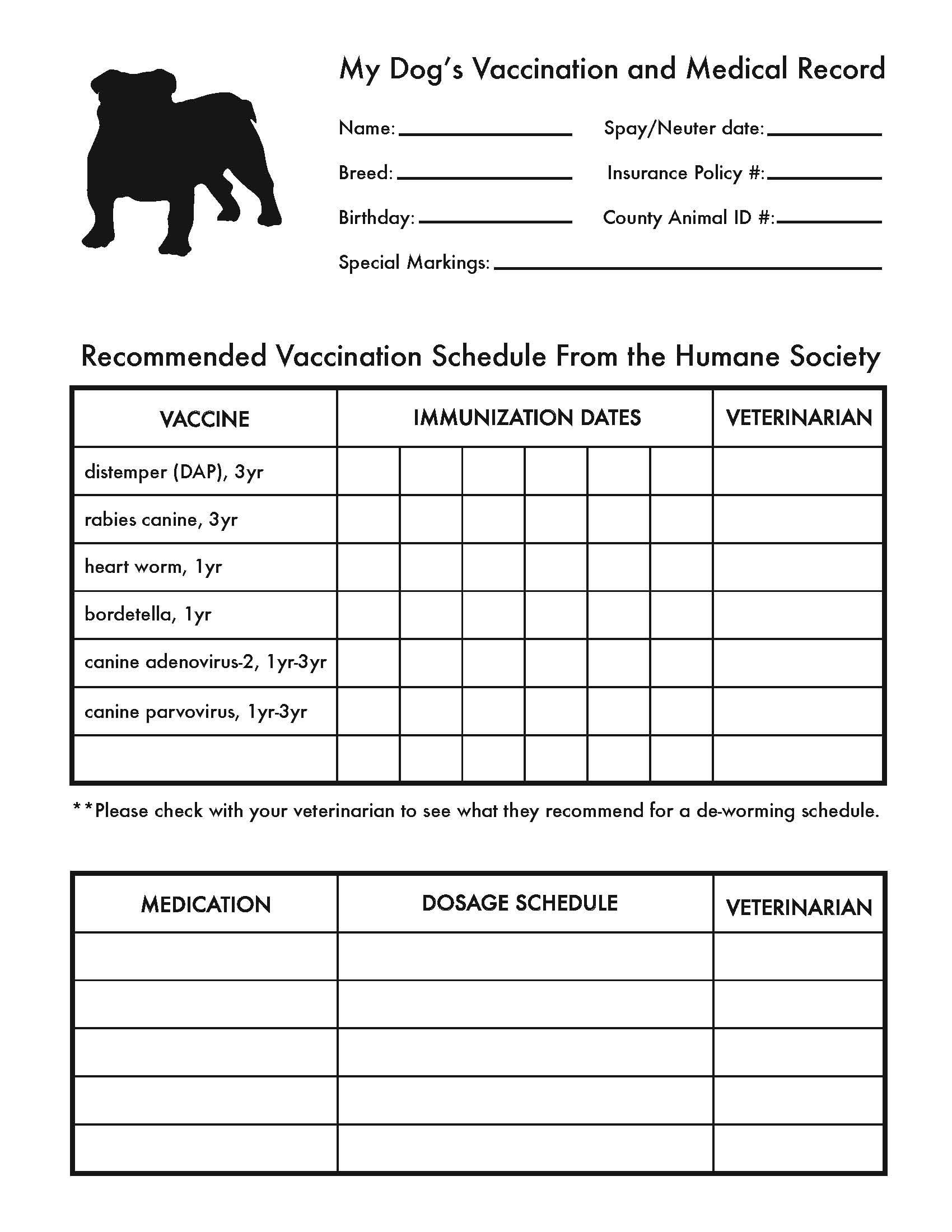 Printable Dog Shot Record Forms | Cute Pets | Dog Shots, Dogs, Dog - Free Printable Pet Health Record