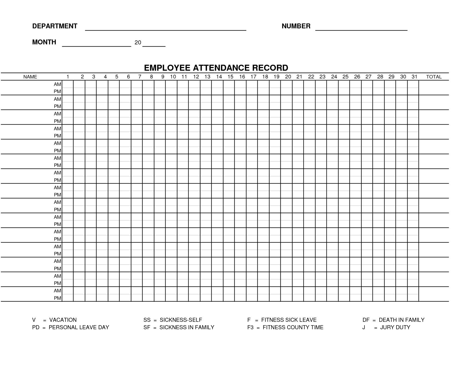 Printable Employee Attendance Sheet Template | Form 15 - Employee - Free Printable Attendance Forms For Teachers