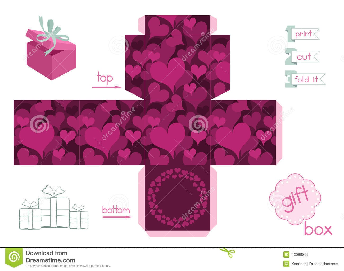 Printable Gift Box With Hearts Stock Vector - Illustration Of Heart - Free Printable Gift Boxes