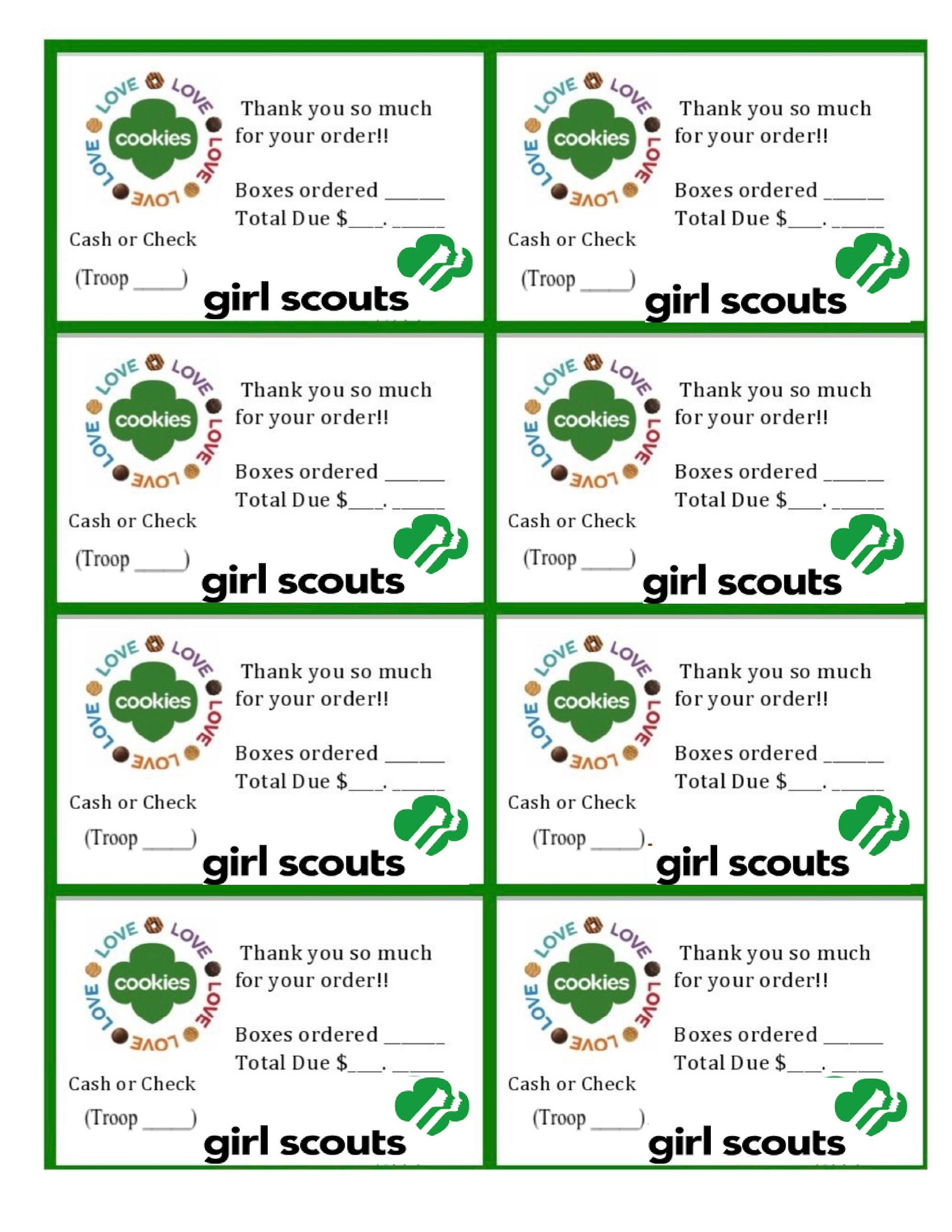 Printable Girl Scouts Cookie Sales Invoice And Thank You Card (8 Per - Free Printable Eagle Scout Thank You Cards