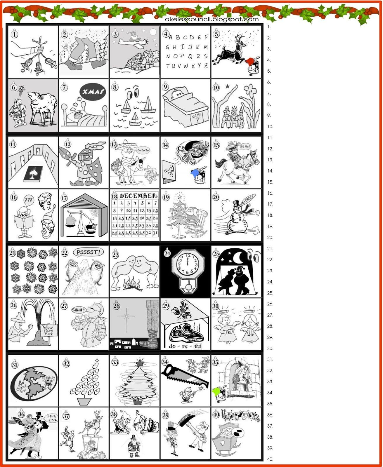 Printable * Guess The Christmas Songs Or Carols Word Puzzle - Free Printable Christmas Song Picture Game