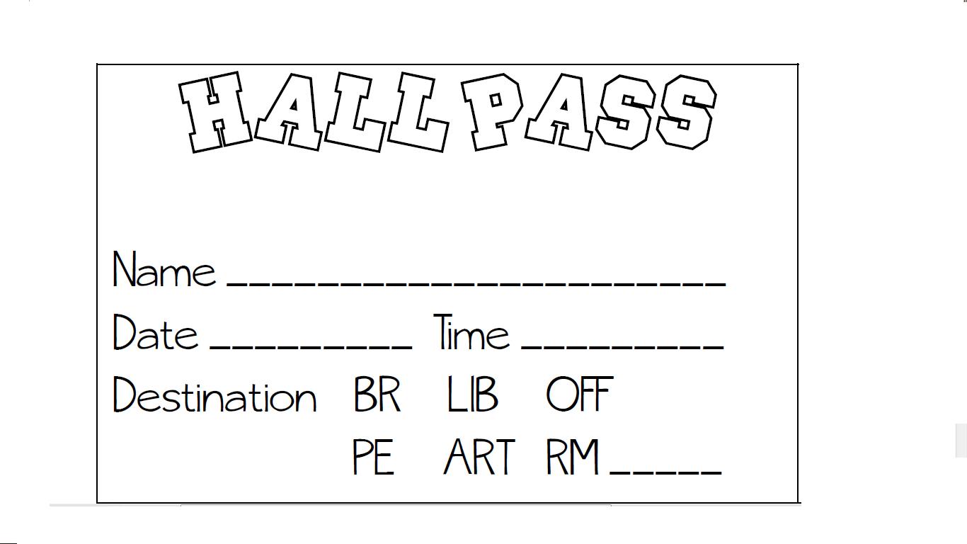 Printable Hall Pass - Kaza.psstech.co - Free Printable Hall Pass Template