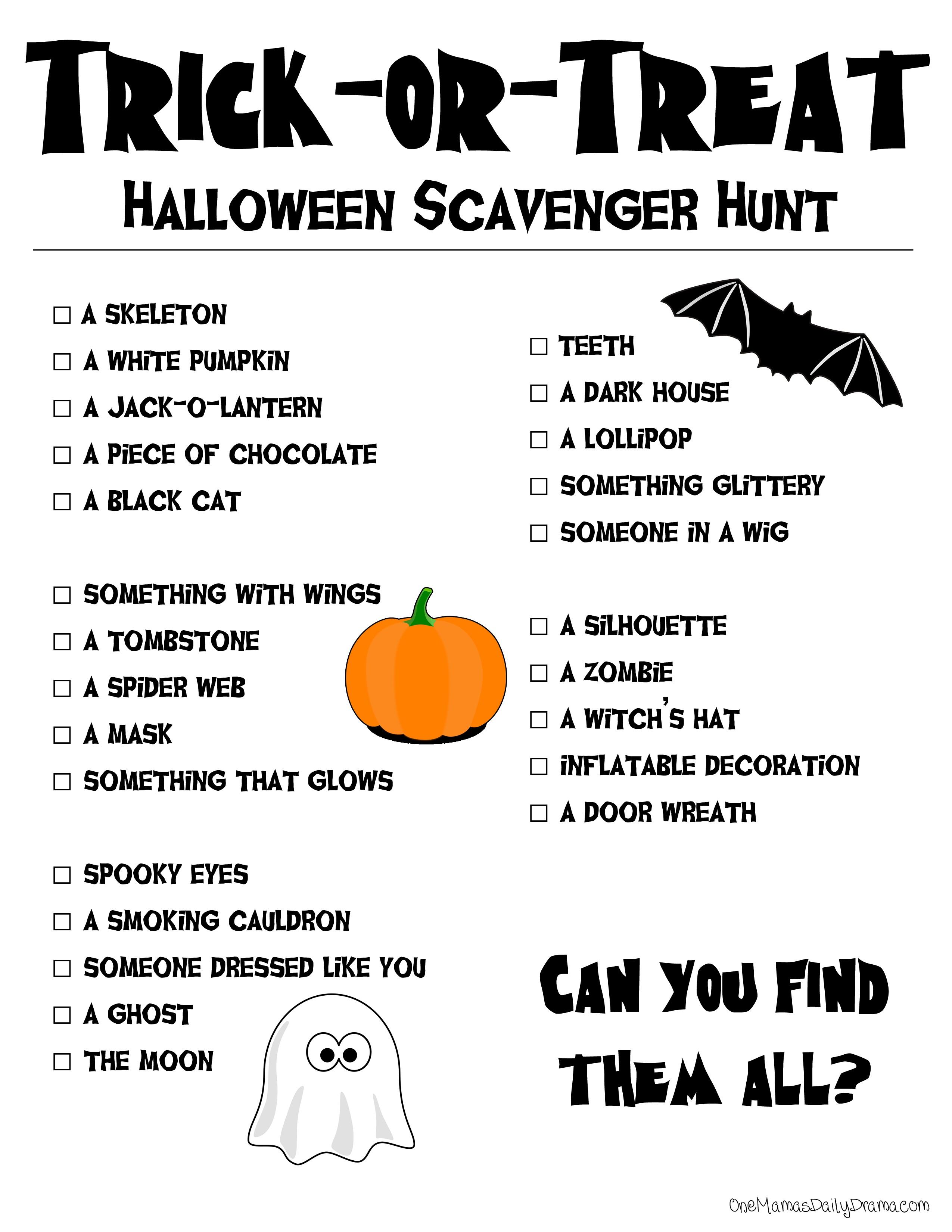 Printable Halloween Scavenger Hunt - Free Printable Halloween Scavenger Hunt