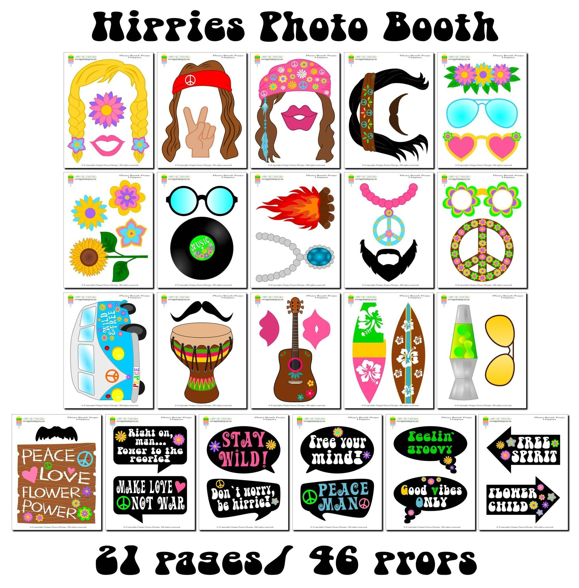 Printable Hippies Photo Booth Props/ 60's Photo Props In 2019 - Printable 90S Props Free