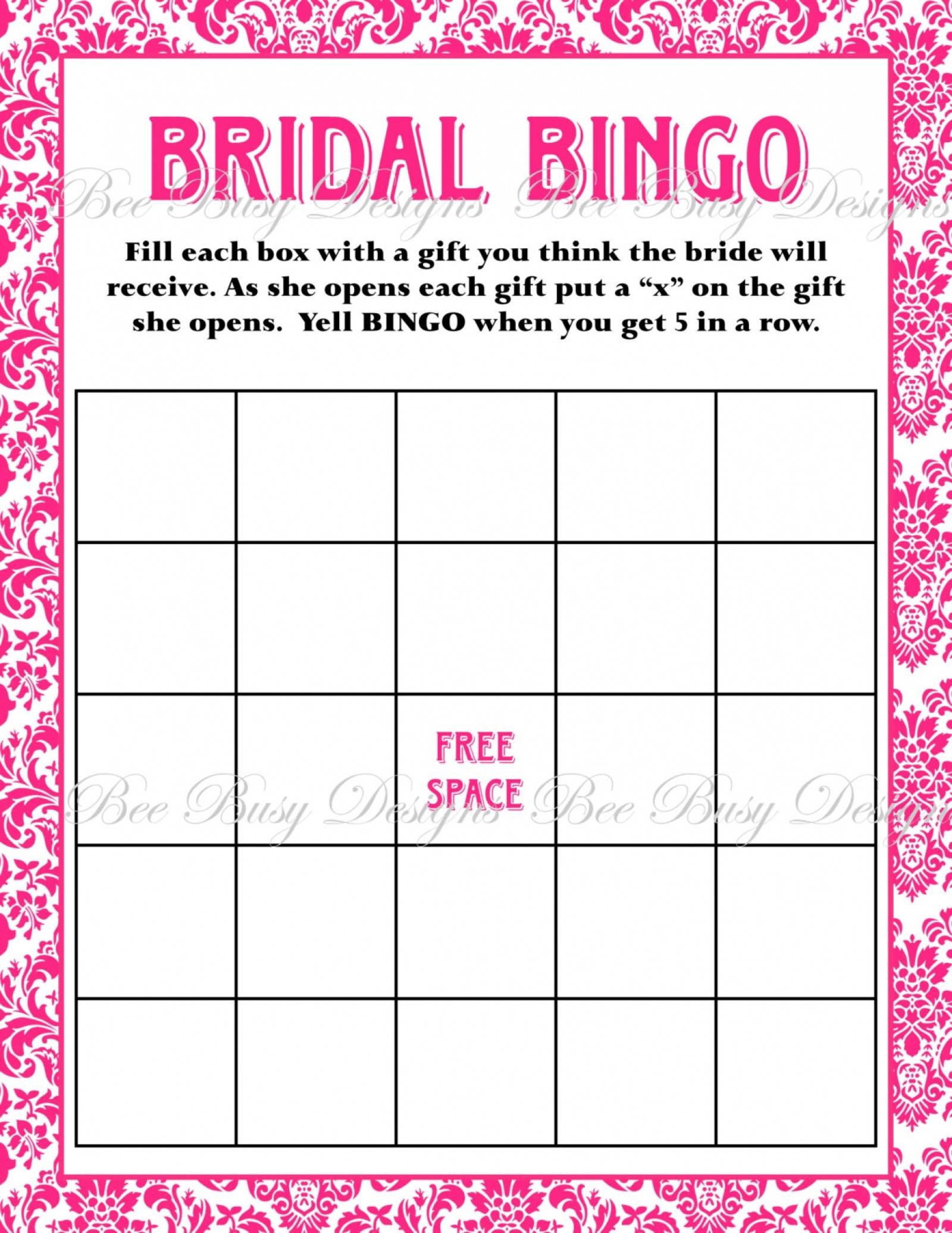 Printable Hot Pink Damask Bridal Shower Bingo Game Instant Download - Free Printable Bridal Shower Blank Bingo Games