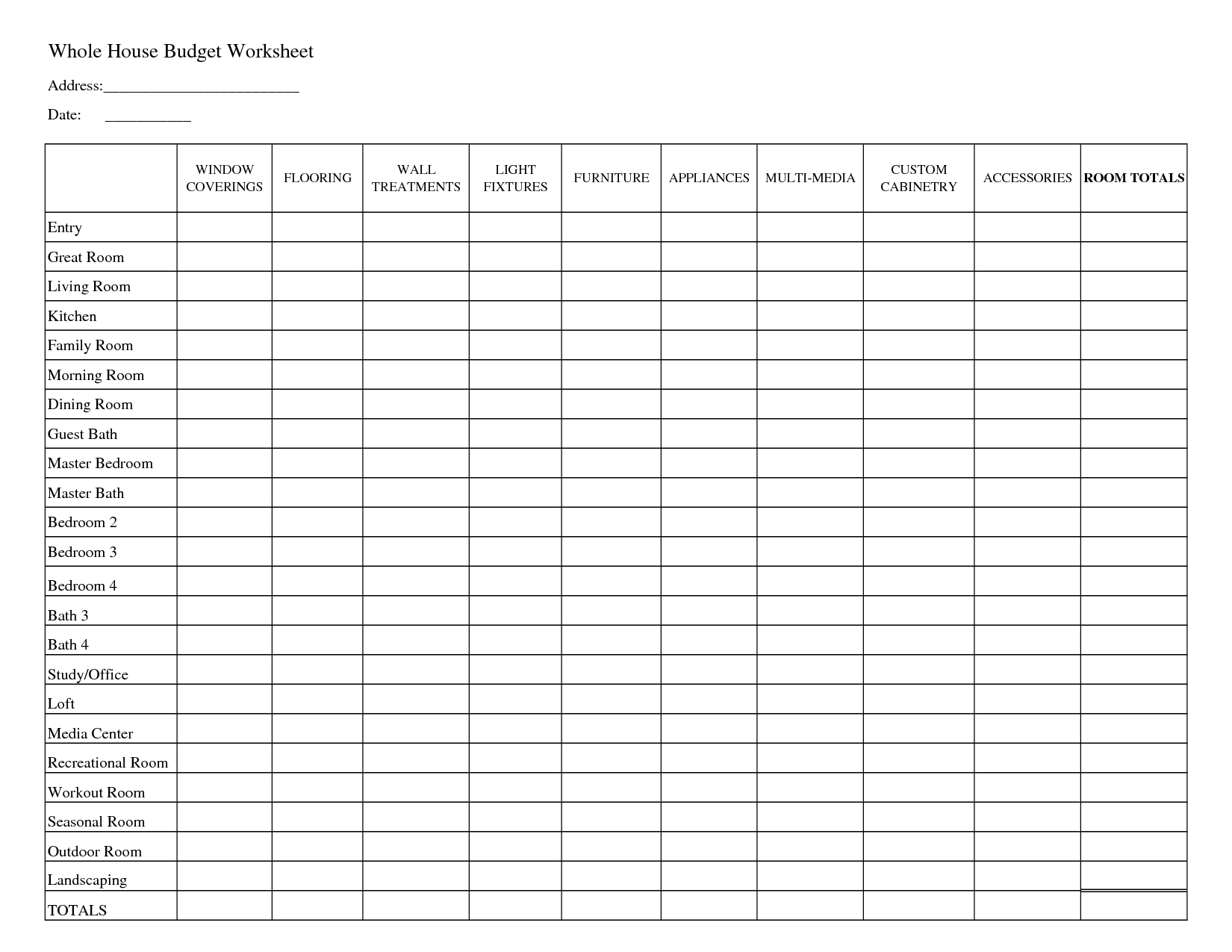 Printable Household Budget Worksheets   Whole House Budget Worksheet - Free Printable Family Budget