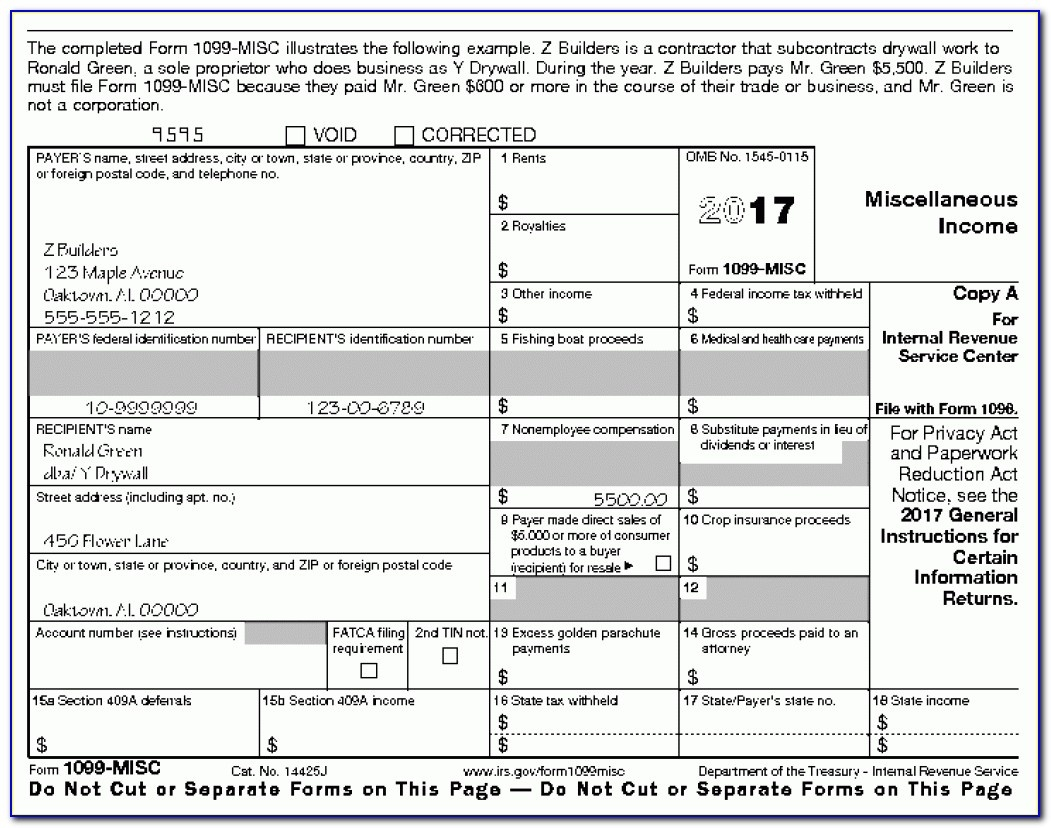 Printable Irs Form 1099 Misc 2017 - Form : Resume Examples #kwle81B29N - Free Printable 1099 Form