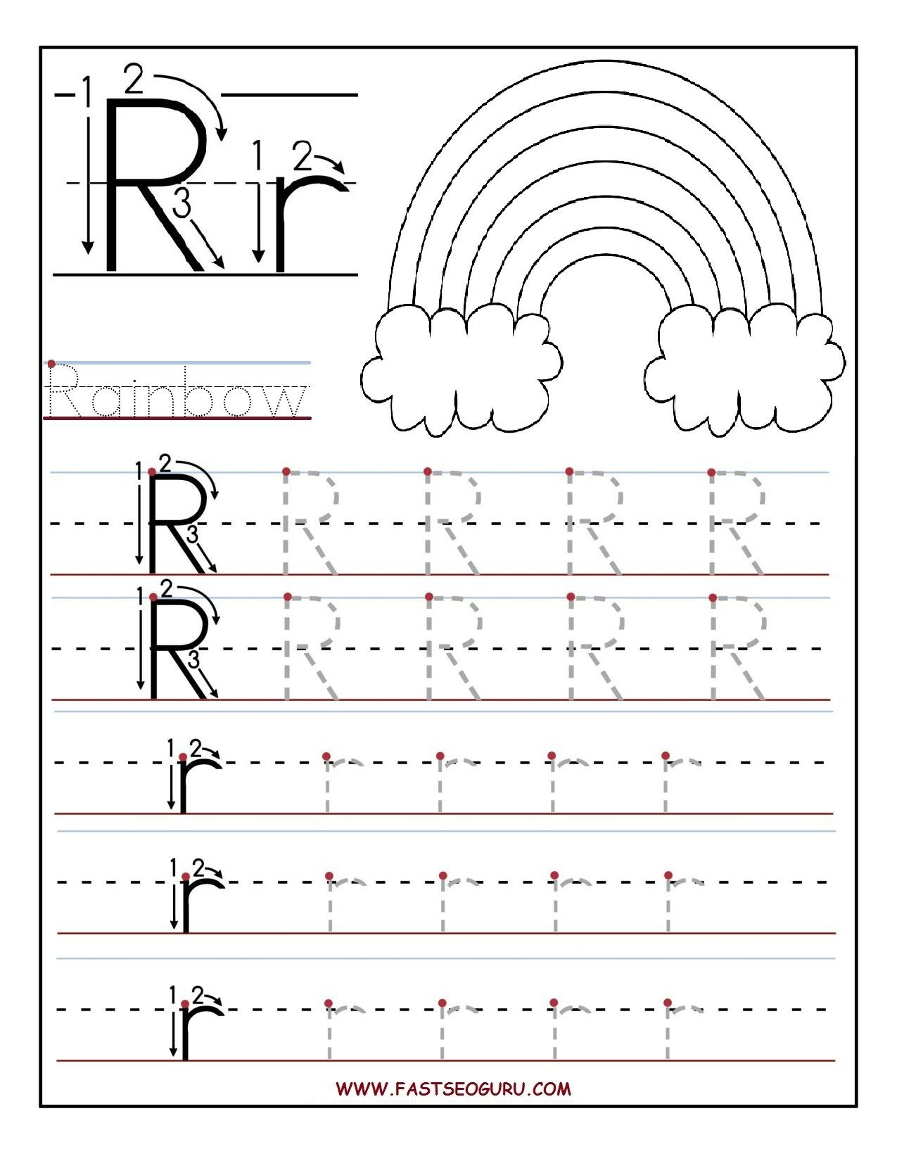 Printable Letter R Tracing Worksheets For Preschool   Teacher - Free Printable Preschool Worksheets For The Letter R